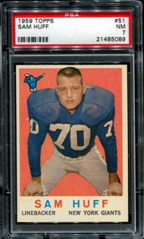 1959 Topps Football #51 Sam Huff Rookie PSA 7 (NM) *5089