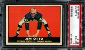 1961 Topps Football #182 Jim Otto Rookie PSA 6 (EX-MT) *5093
