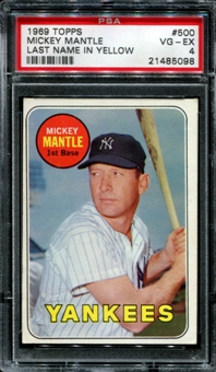 1969 Topps Baseball #500 Mickey Mantle PSA 4 (VG-EX) *5098