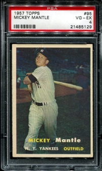 1957 Topps Baseball #95 Mickey Mantle PSA 4 (VG-EX) *5129