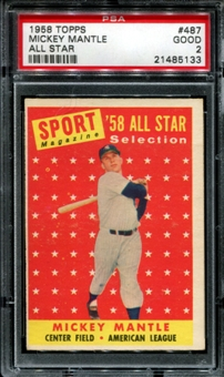 1958 Topps Baseball #487 Mickey Mantle All Star PSA 2 (GOOD) *5133