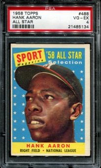 1958 Topps Baseball #488 Hank Aaron All Star PSA 4 (VG-EX) *5134