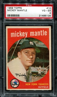 1959 Topps Baseball #10 Mickey Mantle PSA 4 (VG-EX) *5135