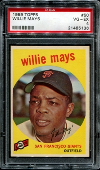 1959 Topps Baseball #50 Willie Mays PSA 4 (VG-EX) *5136