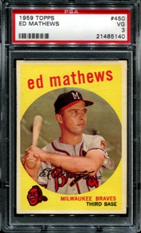 1959 Topps Baseball #450 Ed Mathews PSA 3 (VG) *5140