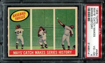 1959 Topps Baseball #464 Willie Mays' Catch Makes Series History PSA 4 (VG-EX) *5141