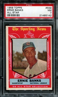 1959 Topps Baseball #559 Ernie Banks All Star PSA 7 (NM) *5142