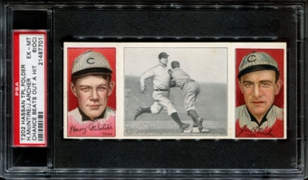 1912 T202 Hassan Triple Folder (Chance Beats Out A Hit) (Mcintyre/Archer) PSA 6 EX-MT (OC)