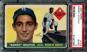 1955 Topps Baseball #123 Sandy Koufax Rookie PSA 2 (GOOD) *1568