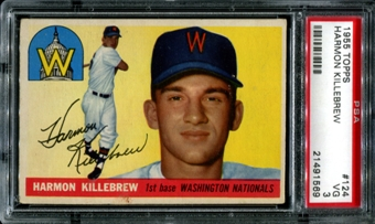 1955 Topps Baseball #124 Harmon Killebrew Rookie PSA 3 (VG) *1569