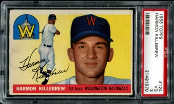 1955 Topps Baseball #124 Harmon Killebrew Rookie PSA 3 (VG) *1570