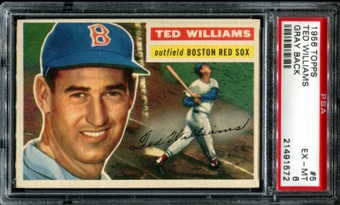1956 Topps Baseball #5 Ted Williams PSA 6 (EX-MT) *1572