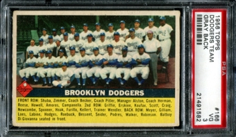 1956 Topps Baseball #166 Brooklyn Dodgers Team PSA 3 (VG) *1582