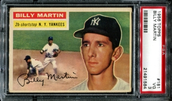 1956 Topps Baseball #181 Billy Martin PSA 3 (VG) *1584