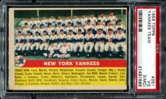 1956 Topps Baseball #251 New York Yankees Team PSA 3 (VG) (MC) *1586