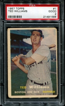 1957 Topps Baseball #1 Ted Williams PSA 2 (GOOD) *1588
