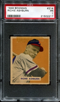 1949 Bowman Baseball #214 Richie Ashburn Rookie PSA 1 (PR) *2217