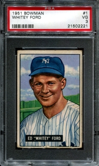 1951 Bowman Baseball #1 Whitey Ford Rookie PSA 3 (VG) *2221
