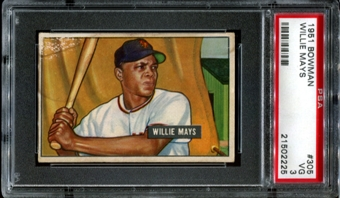 1951 Bowman Baseball #305 Willie Mays Rookie PSA 3 (VG) *2225