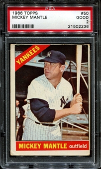 1966 Topps Baseball #50 Mickey Mantle PSA 2 (GOOD) *2236