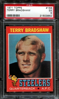 1971 Topps Football #156 Terry Bradshaw Rookie PSA 5 (EX) *3862