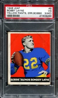 1948 Leaf Football #6 Bobby Layne Rookie PSA 3 (VG) (MC) *9288