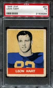 1948 Leaf Football #91 Leon Hart Rookie PSA 1 (PR) *9294