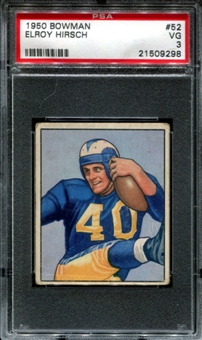 1950 Bowman Football #52 Elroy Hirsch Rookie PSA 3 (VG) *9298