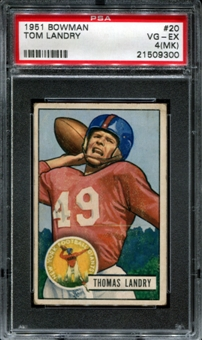 1951 Bowman Football #20 Tom Landry Rookie PSA 4 (VG-EX) (MK) *9300