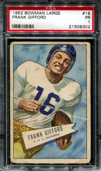 1952 Bowman Football #16 Frank Gifford Rookie PSA 1 (PR) *9302