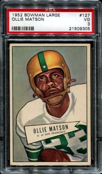1952 Bowman Large Football #127 Ollie Matson Rookie PSA 3 (VG) *9305