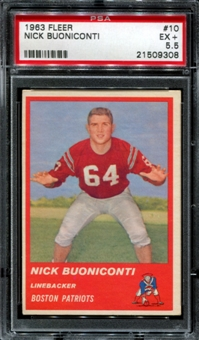 1963 Fleer Football #10 Nick Buoniconti Rookie PSA 5.5 (EX+) *9308