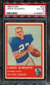 1963 Fleer Football #72 Lance Alworth Rookie PSA 4 (VG-EX) *9311