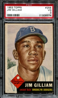 1953 Topps Baseball #258 Jim Gilliam Rookie PSA 3 (VG) *9374