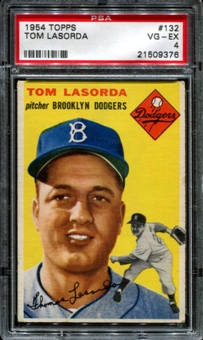 1954 Topps Baseball #132 Tom Lasorda Rookie PSA 4 (VG-EX) *9376