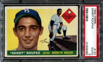 1955 Topps Baseball #123 Sandy Koufax Rookie PSA 2 (GOOD) *9380