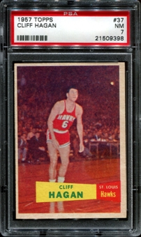 1957/58 Topps Basketball #37 Cliff Hagan Rookie PSA 7 (NM) *9398