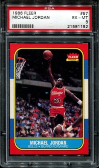 1986/87 Fleer Basketball #57 Michael Jordan Rookie PSA 6 (EX-MT) *1192