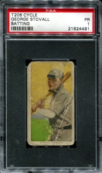 1909-11 T206 Cycle George Stovall (Batting) PSA 1 (PR) *4491