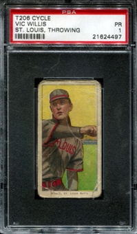 1909-11 T206 Cycle Vic Willis (St. Louis - Throwing) PSA 1 (PR) *4497