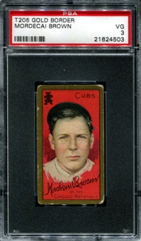 1911 T205 Gold Border Cycle Mordecai Brown PSA 3 (VG) *4503