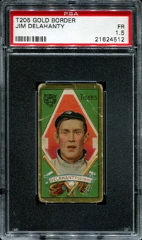 1911 T205 Gold Border Cycle Jim Delahanty PSA 1.5 (FR) *4512