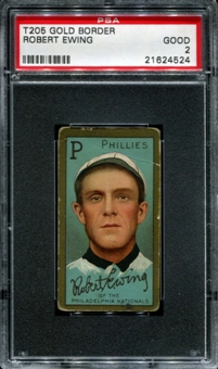 1911 T205 Gold Border Cycle Robert Ewing PSA 2 (GOOD) *4524