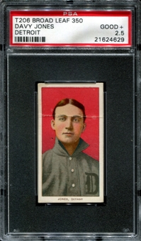 1909-11 T206 Broad Leaf Davy Jones (Detroit) 1/1 (none higher) PSA 2.5 (GOOD+) *4629