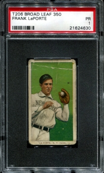 1909-11 T206 Broad Leaf Frank LaPorte 1/1 (none higher) PSA 1 (PR) *4630