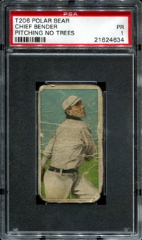 1909-11 T206 Polar Bear Chief Bender (Pitching, No Trees) PSA 1 (PR) *4634