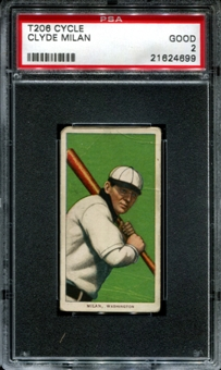 1909-11 T206 Cycle Clyde Milan PSA 2 (GOOD) *4699