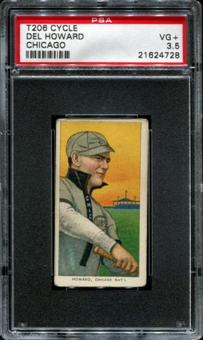 1909-11 T206 Cycle Del Howard (Chicago) PSA 3.5 (VG+) *4728