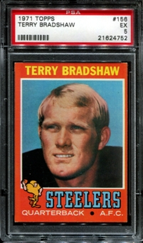 1971 Topps Football #156 Terry Bradshaw Rookie PSA 5 (EX) *4752