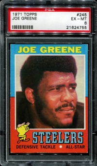 1971 Topps Football #245 Joe Greene Rookie PSA 6 (EX-MT) *4755